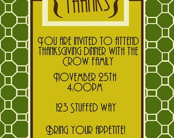 Thanksgiving day invitation to dinner -Digital file only