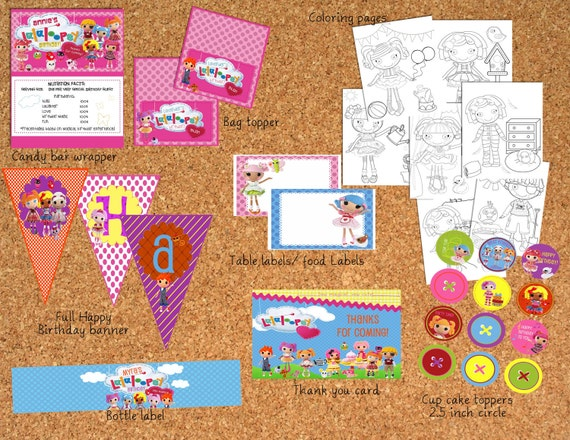 LaLaLoopsy Birthday party supplies (matching invitation not included)  You Print