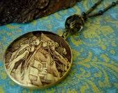 Halloween Art Locket Necklace-Skeleton Graveyard Dance-h99