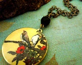 Art Locket Necklace-Autumn Song Birds-h152
