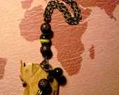 Hand Carved Bone Elephant Pendant Necklace with Beads / Charm Accents-h314