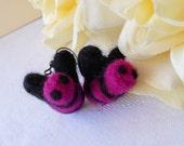 Needle Felted Bee Earrings Violet Black Felt Wool