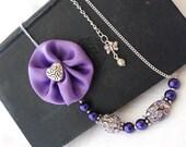 Purple Mosaic Necklace Satin
