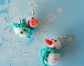 Christmas Snowmen Needle Felted Earrings White Merino Felt Wool