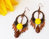 Hoop - Dangle Earrings in Copper Filigree and Yellow Chrysanthemum