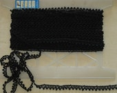 """Vintage Trim Black Cotton Edging For Sewing & Crafting 13 Yards 1/2"""" Wide 4-Star Mills U.S.A."""