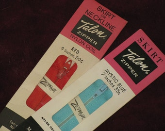 """Vintage Sewing Zippers Red and Mystic Blue Lot of 2 -dated 1960 -1970 Skirt or Neckline 9"""" & 7"""" Talon New in Package"""