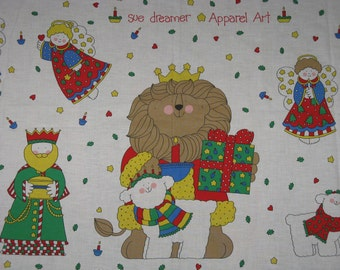 Fabric Printed Cotton Appliques Sue Dreamer Apparel Art,  Angels Christmas Holiday Sew and Craft