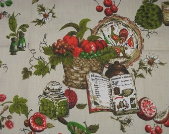 "Vintage Cotton Fabric 1978 Riverdale Screen Print Decorator Fabric Kitchen Design 70's 35"" x 23"""