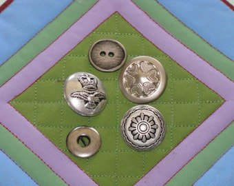 Vintage Buttons Pewter Metal Silver Tone Round Decorative Lot of 5 - BEAUTIFUL Buttons