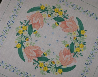 Vintage Printed Fabric Pillow Panel  White Cotton Iron On Floral Design Flowers Tulips Romantic and Pretty