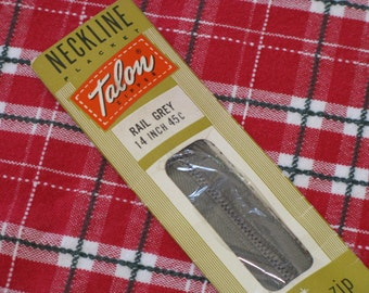 """Vintage Zipper Talon Metal Neckline 14"""" Rail Grey 1958 New in Package"""