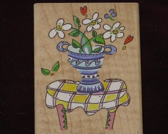 Mad About Plaid Rubber Stamp Wood Mounted Flowers on Table Stampa Rosa Marna - 1998
