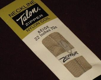 Vintage Beige Zipper Talon Nylon Coil 22 Inch Neckline Dated 1963 New in Package