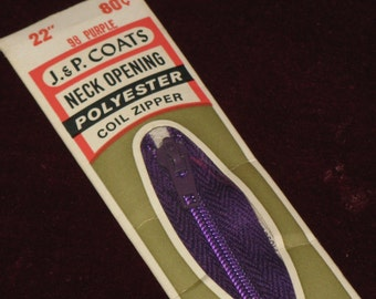 Vintage Purple Zipper Talon Nylon Coil 22 Inch Neckline 1960's New in Package J. P. Coats
