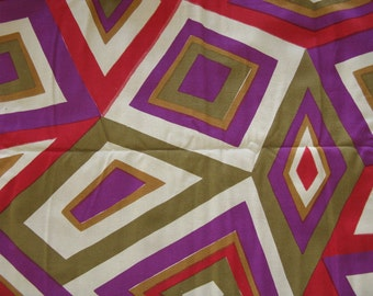 """Vintage FABRIC Decorator Cotton MOD Geo Design 70's Colors  1 1/8 Yards  54"""" Wide  - 1970's Material - Store Remnant in Orignal tag"""