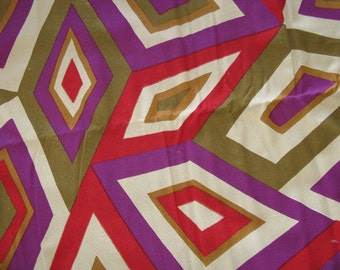 "Vintage Fabric Decorator Cotton MOD Geo Design 70's Colors  1 1/8 Yards  54"" Wide  - 1970's Material - Store Remnant in Orignal tag"
