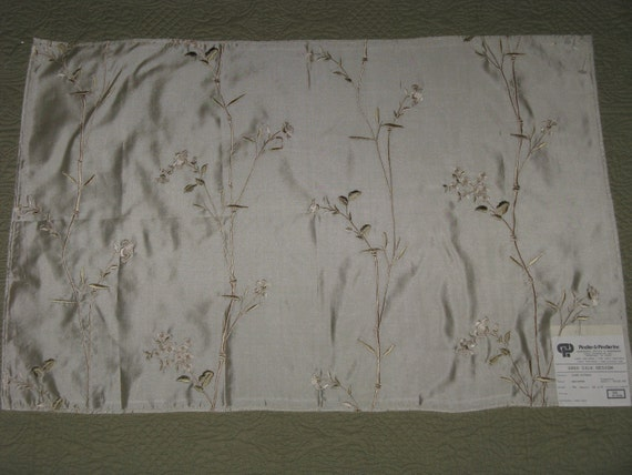 """Fabric Sample Embroidered Silk from India 17"""" x 25"""" Sheer Ivory with Flowers and Leaves PRETTY"""