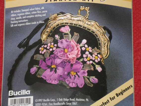 Bucilla silk ribbon embroidery purse kit pansies new by