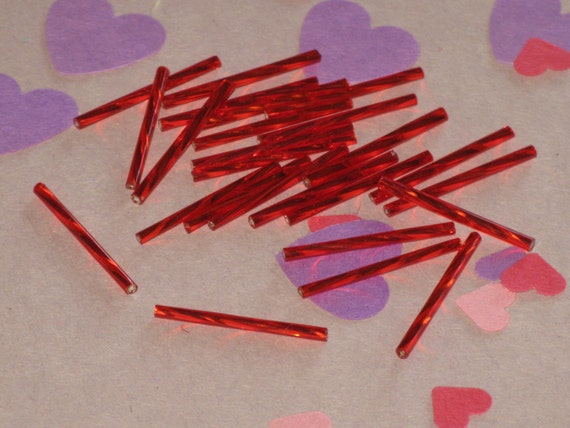 """Vintage Beads Czech Red Twisted Glass Bugles 1-1/4"""" Long 25 Beads"""