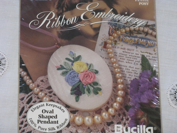 "Silk Ribbon Embroidery Kit ""Petite Posy "" Roses Oval Shaped Pendant Bucilla Elegant Keepsakes New"