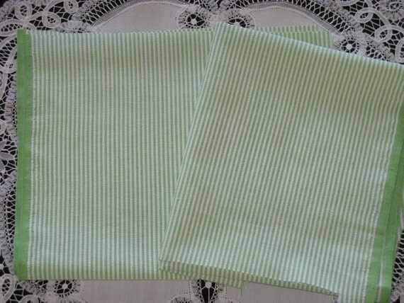 "Vintage Cotton Seersucker Fabric Green and White Stripes -Scraps Small 30"" x 10"" - Two"