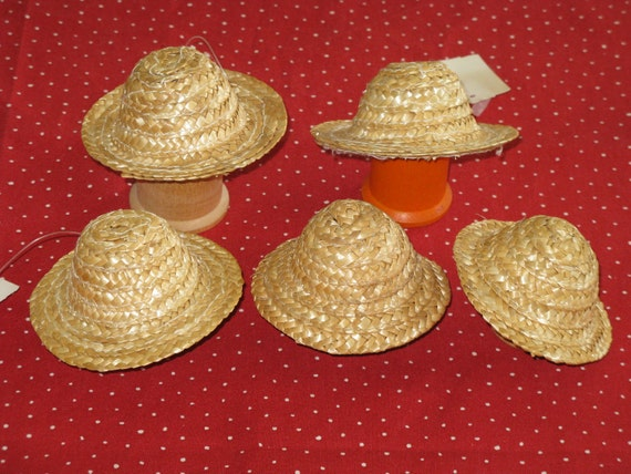 Miniature straw doll hats set of 5 new natural woven 3 inch for Tiny top hats for crafts