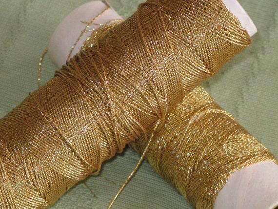 Vintage Gold Metallic Thread Cord 2 Used Spools Pretty