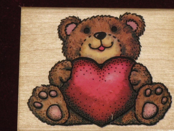 """Rubber Stamp """"Love Me"""" Teddy Bear and Big Heart - Rubber Stampede"""