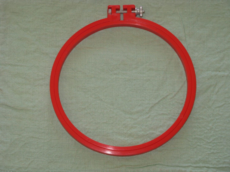 Vintage boye embroidery hoop screw tension type red
