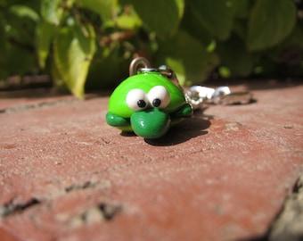 Green Turtle Polymer Clay Key Chain