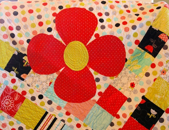 SALE  SALE  SALE Polka-Dot and Flowers Quilt