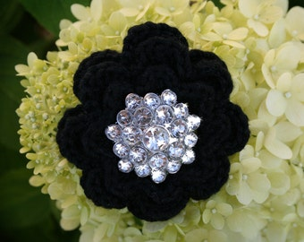 Crocheted pin repurposed button black pin