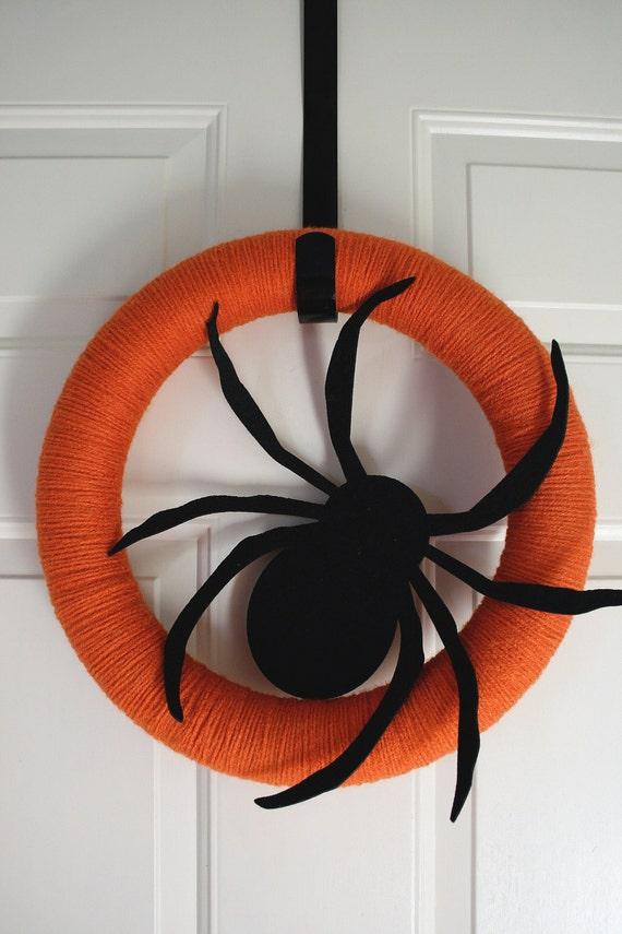 yarn wreath halloween pumpkin spice spider black door hanging arachnid