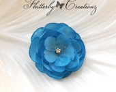 Small Bright Blue Burnt (Heat Singed) Satin Petal Flower Clip