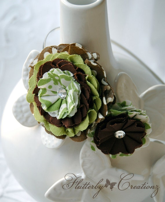 2 Fabric Flower Rosettes Headband in Apple Green and Brown Print with Swarovski Crystal Centers