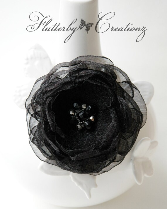 Sheer Black Heat Singed (Burnt) Satin Organza Petal Flower Clip / Brooch Pin with Decorative Button - Formal, Wedding, Special Occassion
