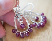 Faceted Ruby Rondelle & Sterling Silver Earrings by Abundant Box