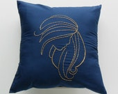 Golden Wheat on Navy Throw Pillow Cover Evangeline Design ( blue, navy blue, yellow, gold, 14 x 14 inches, square, hand embroidered )
