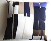 Geometric Throw Pillow Cover Set ( 2, mod, resort pillows, blocks of color, blue, white, brown )