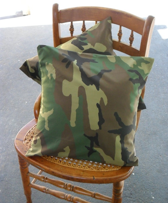 Camo Throw Pillow Cover Set 2 16 inches boys mens camouflage green brown asymmetrical pattern cushion square army outdoors man Masculine