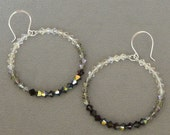 Reserved for a special client, SALE, SAVE 20%, Hoop Earrings, Black, Swarovski Crystal, Shades of Black, Sterling Silver