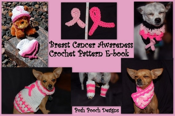 Instant Download  - Crochet Pattern E-Book- Dog Breast Cancer Awareness 7 Crochet Patterns
