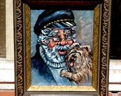 Vintage Oil Painting of a Seafarer with his Yorkie