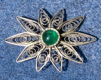 Vintage Mexican Sterling Silver Filigree Pin or Brooch