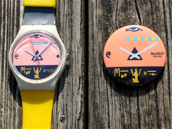 Vintage 1986 Swatch Watch Osiris with Matching Button Pin