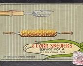 Set of 8 vintage corn cob skewers in original box