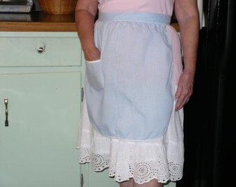 Vintage Half  Apron in Blue and White Checked Gingham