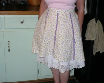 Vintage Gored Handmade Apron with yellow, pink, lavender print flowers