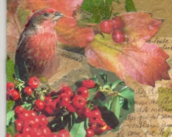 My Original Collage Woodland Retreat/Winterberry Bird Collage-Two Sided